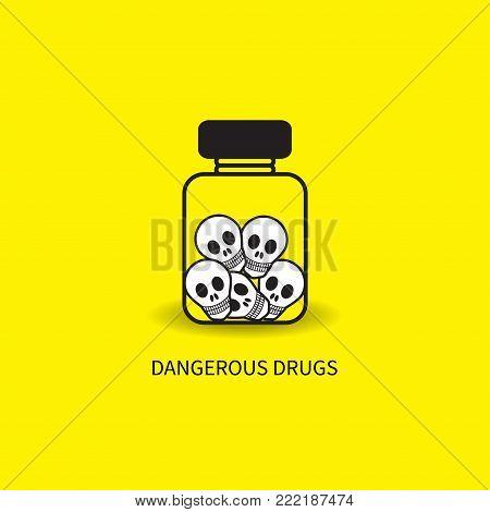 Vial of skulls. Bottle of poison, dangerous drug. Icon addiction to medicines. Vector illustration