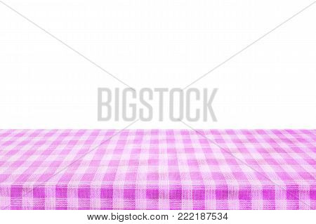 Checkered tablecloth texture top view isolated on white background.