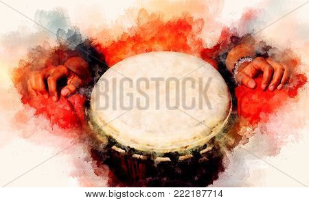 lady drummer with her djembe drum and softly blurred watercolor background