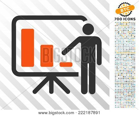 Crisis Reporting Person pictograph with 7 hundred bonus bitcoin mining and blockchain pictograms. Vector illustration style is flat iconic symbols design for crypto-currency software.