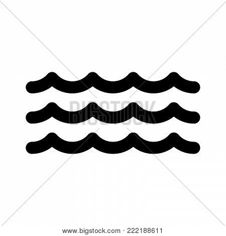 Wave icon isolated on white background. Wave icon modern symbol for graphic and web design. Wave icon simple sign for logo, web, app, UI. Wave icon flat vector illustration, EPS10.