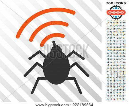 Radio Spy Bug icon with 700 bonus bitcoin mining and blockchain icons. Vector illustration style is flat iconic symbols design for cryptocurrency software.