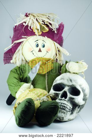 Scarecrow With Knife And Human Skull