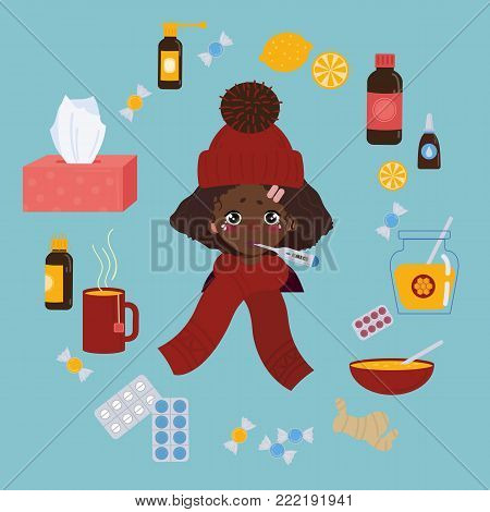 Young african american girl in red hat caught cold flu or virus. She has red nose, high temperature and holds thermometer. Ways to treat illness. Pills, honey, tea. Isolated objects on background