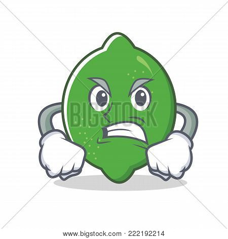 Angry lime mascot cartoon style vector illustration