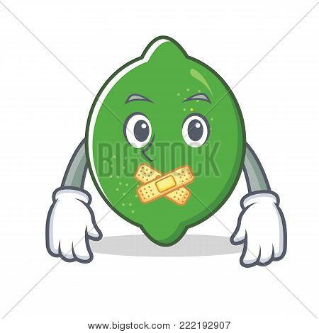 Silent lime mascot cartoon style vector illustration