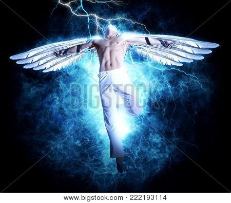 A man with wings on electricity light background. Design for cover book, poster