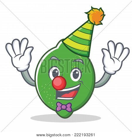 Clown lime mascot cartoon style vector illustration
