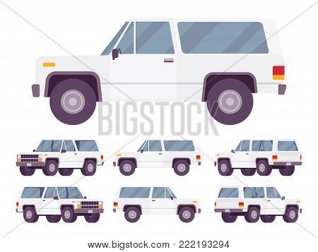 White offroad set. Motor vehicle having large tires for traveling off public roads, on unpaved trails, beaches, rough terrain. Vector flat style cartoon illustration isolated on white background