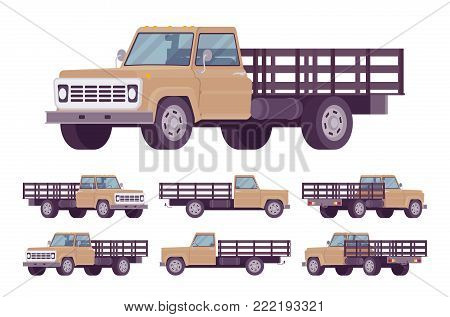 Beige empty truck. Vehicle to transport large amounts of cargo, open car for carrying goods and materials. Vector flat style cartoon illustration isolated on white background, different positions