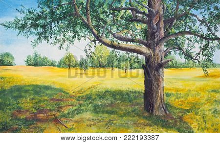 Summer landscape with tree. A large tree grows in the meadow.  Oil painting