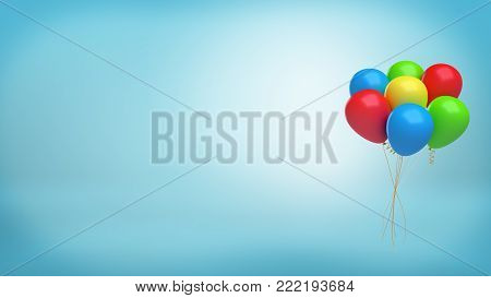 3d rendering of a set of several colorful air balloons tied together with a golden ribbon on blue background. Holiday decorations. Birthday balloons. Festive ornaments.