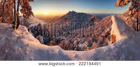 Slovakia mountain, Winter landscape at sunset, Sulovske skaly