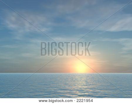 Open Tropical Sea Sunrise Background