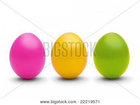 three coloured easter-eggs
