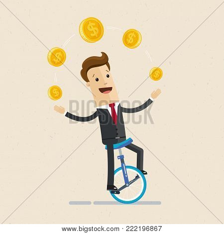 Businessman juggling coin while cycling. Vector, illustration flat