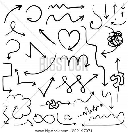 Big set of vector digital hand drawn arrows. Heart shape, cardiogram, complicated, wavy and zigzag arrows group for diagrams, presentation design