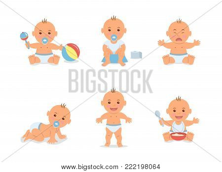 Cartoon set with cute little babies in diaper. Happy toddler plays with toy, child learning to walk, baby crying, child sits on potty, toddler crawling on the floor. Vector illustration in flat style.