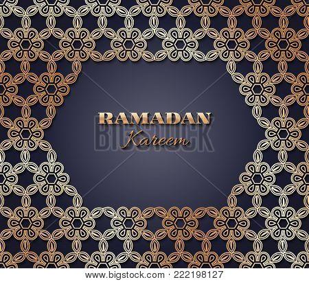 Creative eid mubarak festival greeting with golden islamic pattern on black background.Lettering Ramadan Kareem on the Arabic.