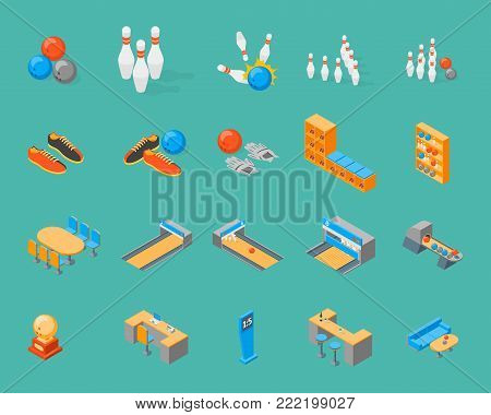 Bowling Game Icons Set Isometric View on a Blue Background Include of Ball, Strike, Skittle and Shoe. Vector illustration