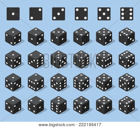 Set 24 authentic icons of dice in all possible turns. Twenty four variants loss dice. Black game cubes isolated on blue background. Board games dice in 3D view. Vector isometric illustration.