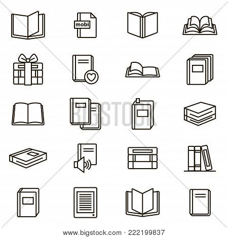 Book Signs Black Thin Line Icon Set Include of Textbook, Encyclopedia, pile or Stack. Vector illustration of Books