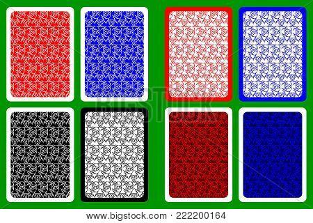 Playing Card Back Designs - Triple Horn of Odin vector pattern , Three crescent pattern, Wiccan symbols pattern