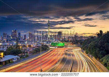 Auckland. Cityscape image of Auckland skyline, New Zealand at sunrise.