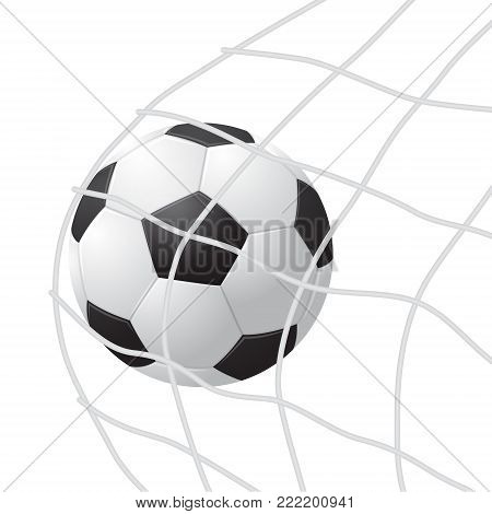 Realistic Detailed 3d Soccer Ball Hitting on Net Play Football Sport Game Goal Competition Win Concept. Vector illustration