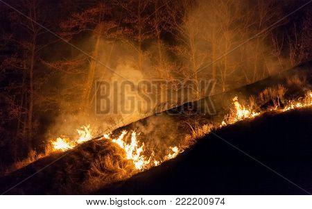 Large bright fire of bushfire at night