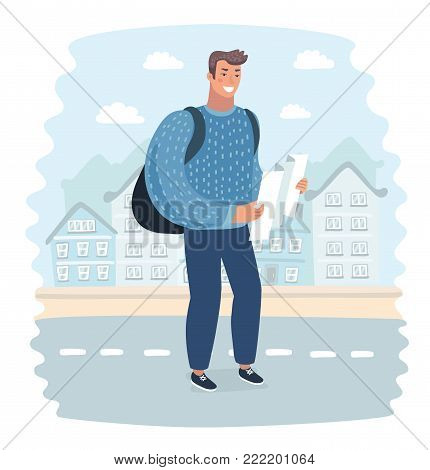 Vector cartoon illustration of Tourist man try navigate himself with map in unknown city. Funny happy male characters on city landscape background.