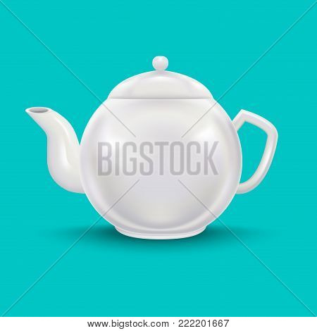 Realistic Detailed 3d Template Blank White Ceramic Teapot Mock Up on a Blue Background . Vector illustration of Teakettle