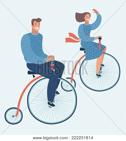 Vector cartoon funny illustration of couple ride on vintage bike. Happy  man and woman characters couple riding Penny farthing bicycle isolated laughing happily.