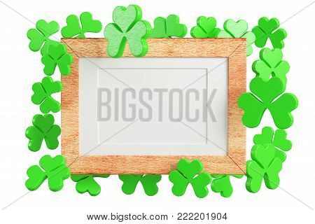 Blank wooden frame with three leaf clovers isolated on white background. 3d rendering