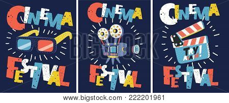 Vector cartoon set of Retro cinema posters and flyers collection. Illustration of camera, 3d glasses, clapperboard. Vintage movie signs layouts. Promotional film  templates for ads or banners.