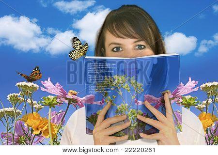 Mulher lendo um livro / fantasia