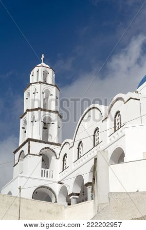 Greece. The Cyclades Islands. Santorini On A Sunny Day.