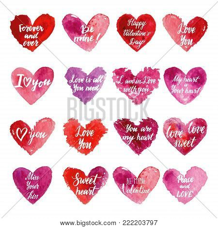 Grungy red watercolor hearts set with handwritten lettering. Calligraphy hand drawn Happy Valentine's day card. Red, purple, violet watercolor hand drawn hearts.
