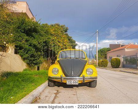 Athens, Greece 28 December 2017. Retro vintage beatle sport car on the road.
