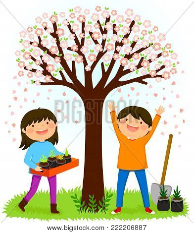 Children standing under a blooming tree preparing to plant saplings for Tu Bishvat