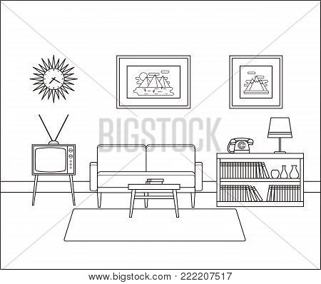 Linear room interior. Retro living room in line art. Vector illustration. Outline sketch. House equipment. Home space with vintage sofa, TV set and telephone in flat design. Cartoon furniture.