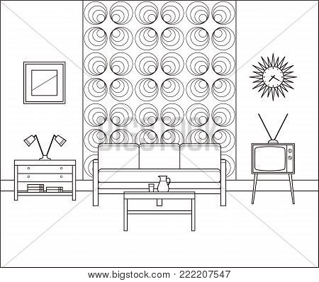 Linear retro room. Living room interior in line art. Thin line illustration. Vector graphics. Vintage home space with sofa, TV set and coffee table in flat design. House equipment with cartoon furniture.