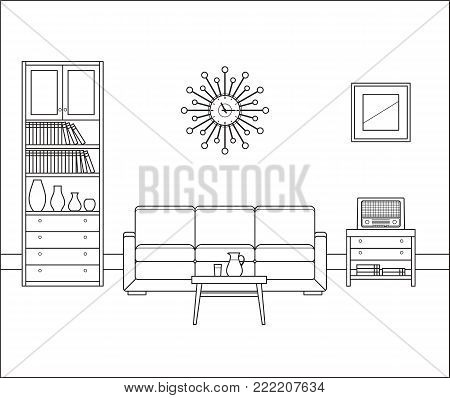 Linear retro interior. Living room in in flat design. Thin line illustration. Vector graphics. Vintage home space with sofa, radio set, clock and coffee table. Black and white furniture. Outline sketch.