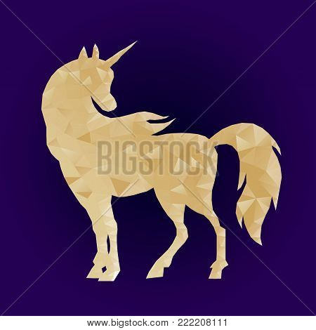 Geometric triangular polygonal illustration of unicorn with gradient. Golden magic horse on blue background. Low poly unicorn silhouette design. Fairy animal. Cute magic fantasy animal.  Dream symbol