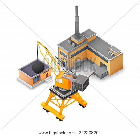 Isometric industrial buildings collection with factory warehouse and construction crane on white background isolated vector illustration