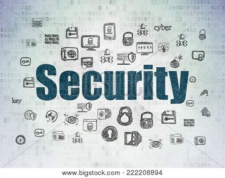 Security concept: Painted blue text Security on Digital Data Paper background with  Hand Drawn Security Icons