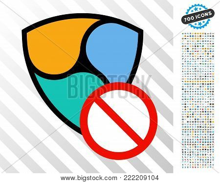 Nem Restricted icon with 700 bonus bitcoin mining and blockchain images. Vector illustration style is flat iconic symbols design for blockchain apps.