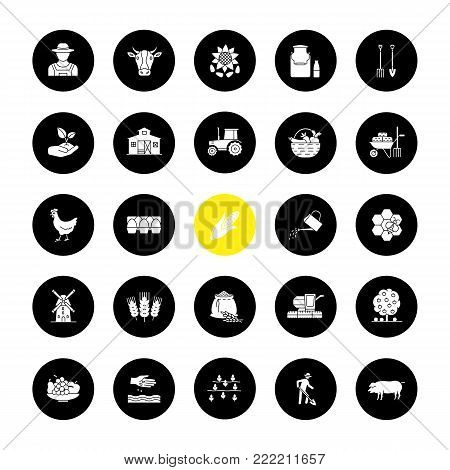 Agriculture glyph icons set. Farming. Agricultural implement. Vector white silhouettes illustrations in black circles