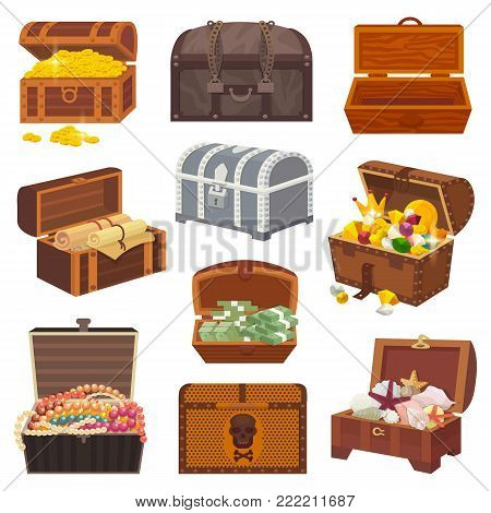 Chest vector treasure box with gold money wealth or wooden pirate chests with golden coins and ancient jewels illustration isolated on white background.