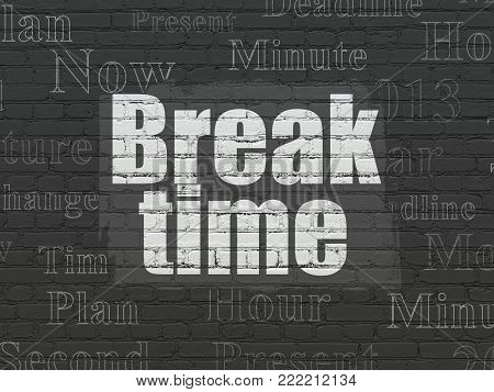 Time concept: Painted white text Break Time on Black Brick wall background with  Tag Cloud